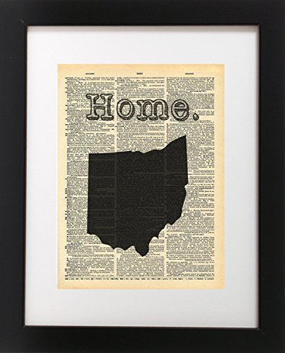 Ohio State Vintage Map Vintage Dictionary Print 8x10 inch Home Vintage Art Abstract Prints Wall Art for Home Decor Wall Decorations For Living Room Bedroom Office Ready-to-Frame