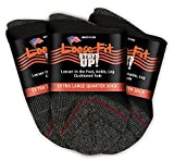Loose Fit Stays Up Men's and Women's Low Cut Quarter Socks 3 Pack Made in USA! (X-Large, Black (Red...