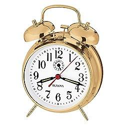 Bulova B8124 Bellman Alarm Clock, Gold