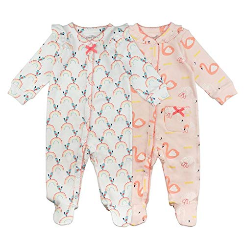 Baby Girl Sleeper Set, 2-Pack Swan Print Footed Sleep and Play Pajamas, 6 Month
