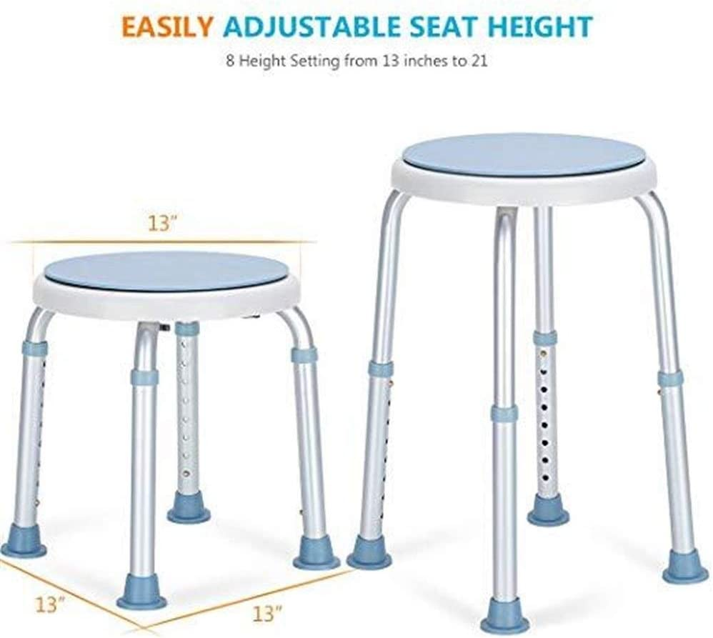 360 Degree Rotating Shower Chair, Tool Free Adjustable Shower Stool Tub Chair and Bathtub Seat Bench with Anti-Slip Rubber Tips for Safety and Stability 51AODrlpUGLSL1001_