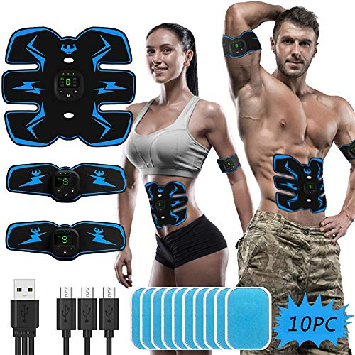 HONGXIAN ABS Stimulator Muscle Trainer, Electric Abdominal Muscle Toning Stimulator Device, Smart Ab Stimulator Work Out Abs Toner Belt Fitness Equipment for Men Women