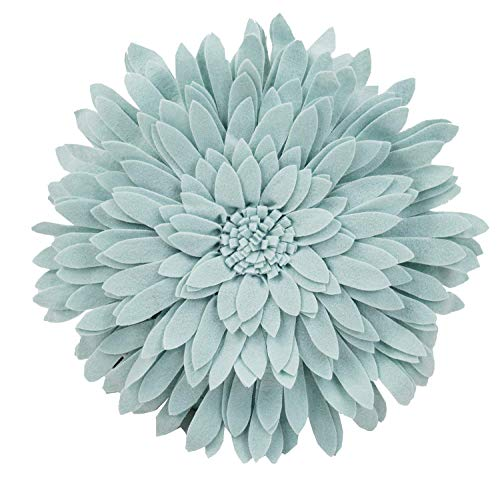 Elegant 3D Sunflower Throw Pillow - Round 16 x 16 Decorative Throw Pillow - Aqua Green Accent Pillows For Couch, Bedroom And Living Room Decor - Sunflower Decorative Pillows With Case And Insert