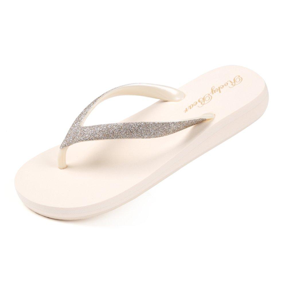 LIXIONG zapatillas Hembra verano Lentejuelas Playa de arena Seashore toma vacaciones Moda zapato, Altura del tacón de 25 mm, 3 colores -Zapatos de moda ( Color : Arroz blanco , Tamaño : EU38/UK5.5/CN38/240 ) EU38/UK5.5/CN38/240|Arroz blanco