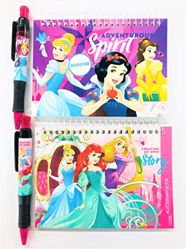 2 Pieces Disney Princesses Party Favors Autograph Book with Pen Note Pads Memo - (2 Pieces Princesses)