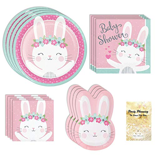 (Baby Shower Party Supplies, Pink Bunny Boho Design, 16 Guests, 65 Pieces, Disposable Paper Dinnerware, Plate and Napkin Set)