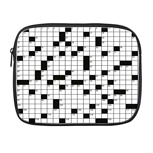 Word Search Puzzle Compatible with Nice iPad Bag,Classical Crossword Puzzle with Black and White Boxes and Numbers Decorative for Office,One Size