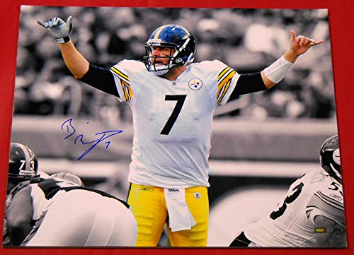 - BEN ROETHLISBERGER AUTOGRAPHED PITTSBURGH STEELERS 16X20 PHOTO MM SEPIA FILTERED