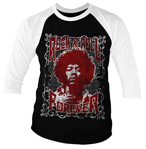 Jimi Hendrix Baseball T Shirt Rock & Roll Forever Official Mens 3/4 Sleeve Size L Black]()