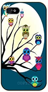 iPhone 4 / 4s Cute baby owls on a tree - black plastic case / Animals and Nature, owl, owls