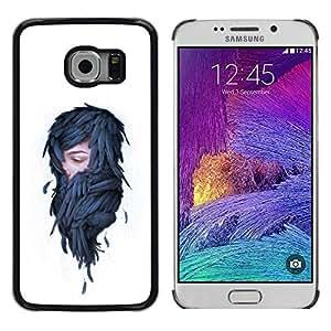 Caucho caso de Shell duro de la cubierta de accesorios de protección BY RAYDREAMMM - Samsung Galaxy S6 EDGE - Mujer en plumas - Pop Art