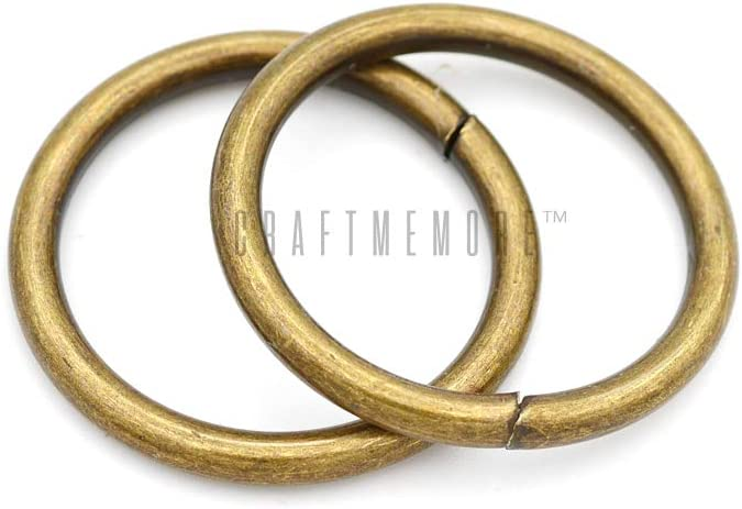 2 x 10 pcs, Silver CRAFTMEMORE O-Ring Findings Metal Non-Welded O Rings for Belts Bags Landyard DIY Leather Hand Craft