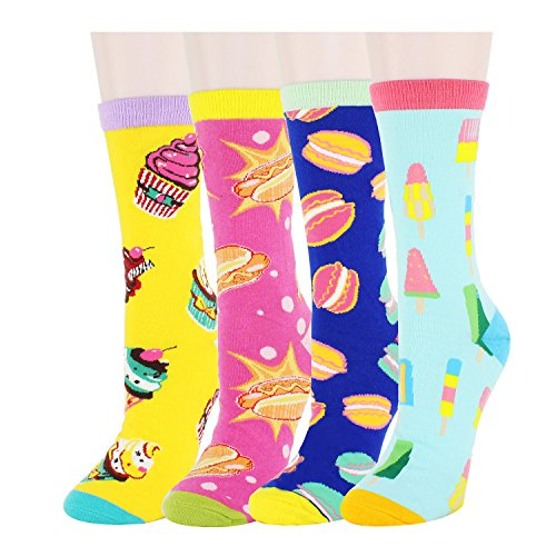 Zmart 4 Pack Women's Cute Crazy Funny Novelty Cotton Crew Food Socks