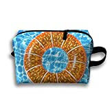 Orange Swim Ring Travel Bag Cosmetic Bags Brush Pouch Portable Makeup Bag Zipper Wallet Hangbag Pen Organizer Carry Case Wristlet Holder
