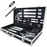 TeiKis 19-Piece Grilling Accessories BBQ Tools Set Including a Digital Thermometer in a Stainless Steel Storage Case
