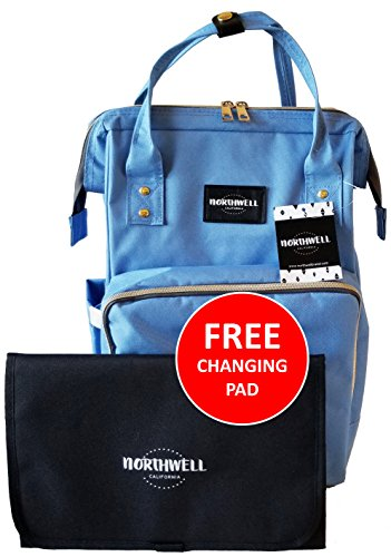 Northwell Premium Baby Diaper Bag with Free Diaper Changing Pad: Multi-Functional, Laptop or Tablet Pocket, High-Capacity, Waterproof, Eco-Friendly, Insulated Baby Bottle Pockets (Newport Blue)