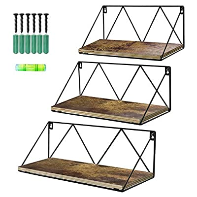 Calenzana Floating Wall Shelves Set of 3 Rustic Wood Storage Shelf for Bathroom Kitchen Living Room Bedroom - DECORATIVE AND FUNCTIONAL. Get your home organized from mess with the rustic style floating shelves, add a decorative touch to your wall while creating versatile storage space to store and organize your small items, books, photos, collectibles, etc. QUALITY MATERIAL. Different from the regular U-shape and cube shelves, this wall shelves constructed of MDF (not solid wood) boards and metal bracket, it's sturdy and durable. DIMENSION. The size of this metal wire storage shelves set is about: small 10.7x4.5x4.5 inches (27.2x11.6x11.6cm); medium 13.0x4.9x5.1 inches (33.2x12.6x13cm); large 16x5.0x5.7 inches (40.7x12.8x14.7cm). - wall-shelves, living-room-furniture, living-room - 515UNUcx5eL. SS400  -