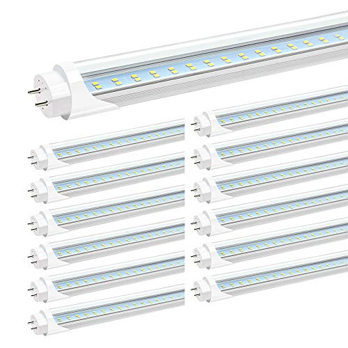 (JESLED T8 4FT LED Light Bulbs, 24W 5000K Daylight 3000LM, T10 T12 LED Tubes Replacement, 4 Foot LED Shop Light Bulbs for Garage Fluorescent Fixture, Clear, Dual-end Powered, Ballast Bypass)