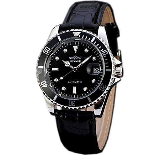 E-future Winner Luxury Leather Strap Automatic Mechanical Men Wrist Watch Black WW269