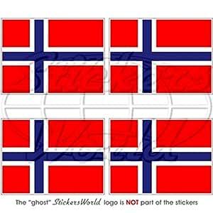 """Bandera de Noruega Norge, Noreg 2""""(50mm) bumper-helmet de vinilo pegatinas, calcomanías x4"""
