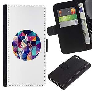 Be Good Phone Accessory // Caso del tirón Billetera de Cuero Titular de la tarjeta Carcasa Funda de Protección para Apple Iphone 6 PLUS 5.5 // Howl White Art Polygon Night