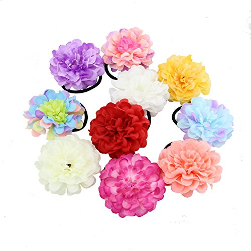 (HOPEANT 10 PCS Floral Hand Wrist Corsage Peony Bracelets Hand Flower Head Flower Party Prom Decor)