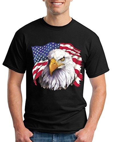 July Eagle Flag T-shirt (American Flag National Symbol Eagle T-shirt 4th of July Shirts Medium Black WS 14311)