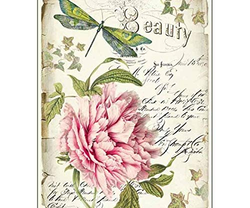Rice Paper Peony and Dragonfly Hobby Colors Stamperia A4 Decoupage Rice Papers