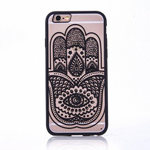 König-Shop Handy Hülle Mandala für Apple iPhone 8 Plus Design Case Schutzhülle Motiv Hand Fatima Cover Silikon Tasche Bumper Schwarz