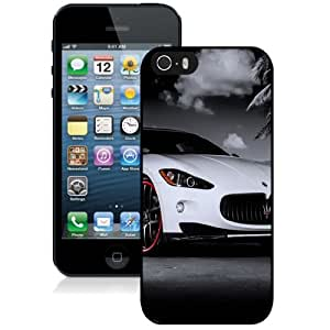 Fashionable Custom Designed iPhone 5S Phone Case With Maserati Granturismo White Red Rims_Black Phone Case