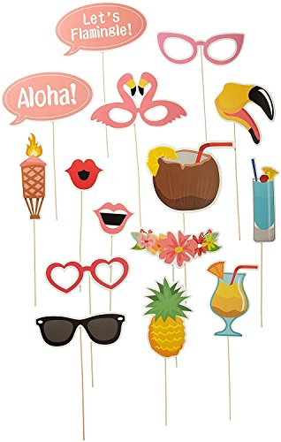 LAttLiv 21pcs Hawaii Themed Party Summer Party Photo Booth Props Kit Party Supplies For Holiday Wedding Party Beach - Party Booth Holiday Photo