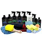 TriNova Car Wash Kit Complete Detailing Bundle Best for Washing Car - Truck - SUV. Accessories Included Shammy - Glove - claybar - applicator - Towel - Microfiber - Brush. All Amazing Supplies. 19 Pieces