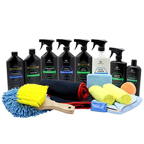 TriNova Car Wash Kit Complete Detailing Bundle Best Washing Car, Truck, SUV. Accessories included shammy, glove, claybar, applicator, towel, microfiber, brush. All amazing supplies. 19 Pieces