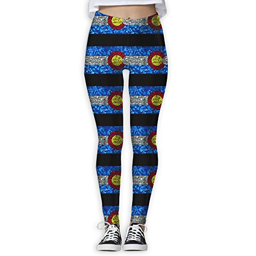 (Geometric Colorado Flag Women's Stretchable Sports Running Yoga Workout Leggings Pants M)