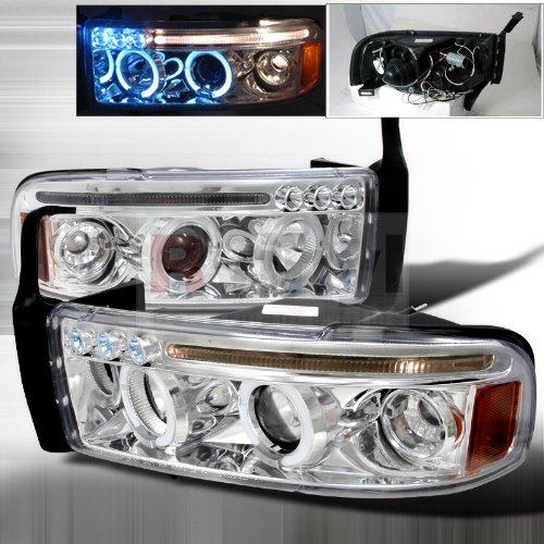 (Spec-D Tuning 2LHP-RAM94-TM Dodge Ram 1500 2500 3500 Led Halo Chrome Clear Projector Head)