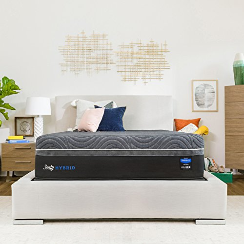 Sealy Posturepedic Hybrid Premium Silver Chill 14-Inch Plush Cooling Mattress, Queen, Made in USA,  10 Year Warranty