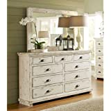Progressive International Drawer Dresser with Mirror in Distressed White Finish