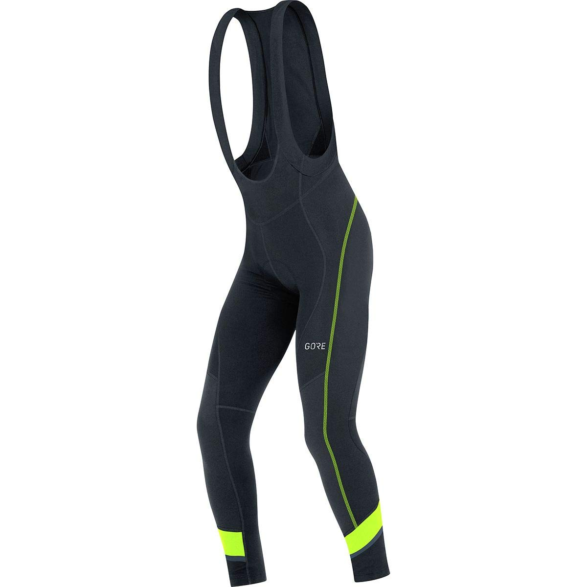 GORE WEAR Men's Breathable, Long Cycling bib Tights, with seat Insert, C5 Thermo Bib Tights+, XL, Black/Neon-Yellow, 100365