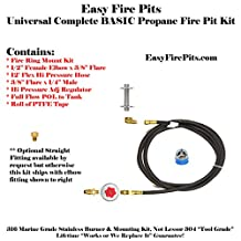 _CK: UNIVERSAL PROPANE COMPLETE BASIC FIRE PIT KIT – INCLUDES ALL EXCEPT THE BURNER! – MOUNTING KIT, LP REGULATOR, 12′ HOSE & FITTINGS
