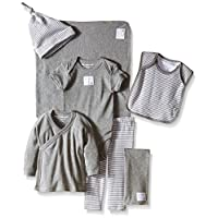 Burts Bees Baby Unisex Organic Take Me Home Stripe Heather Grey Basket, Heath...