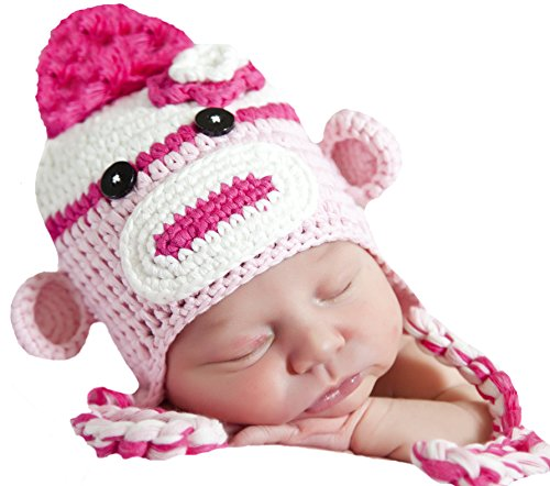 Melondipity's Fun Pinks Sock Monkey for Baby and Toddler Girls (0-6 months)
