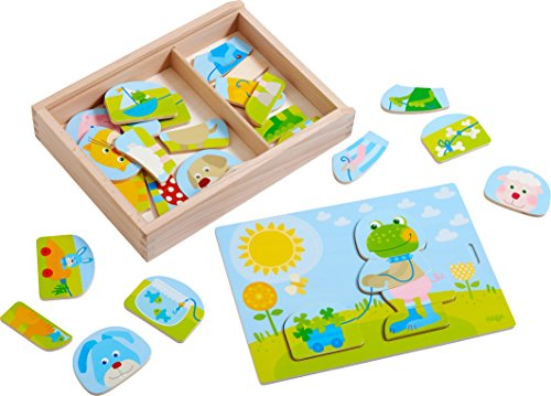 x & Match - Playful Puzzle Fun with 30 Pieces for Many Variations - with Wooden Storage Box (Zoo Mix)