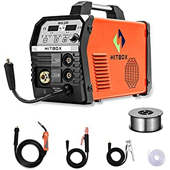 HITBOX MIG Welder 200Amp Inverter MIG ARC Lift TIG Gas Gasless 4 in 1 Multifunction MIG Welding Mahcine 220V Flux Cored Wire Solid Core Wire Welding ...