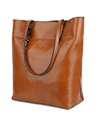 Yaluxe Women's Casual Style Genuine Leather Tote Shoulder Bag