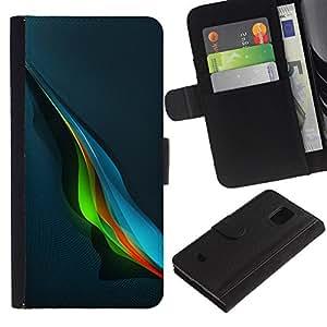 Be Good Phone Accessory // Caso del tirón Billetera de Cuero Titular de la tarjeta Carcasa Funda de Protección para Samsung Galaxy S5 Mini, SM-G800, NOT S5 REGULAR! // blue music wave abstract blue colorful
