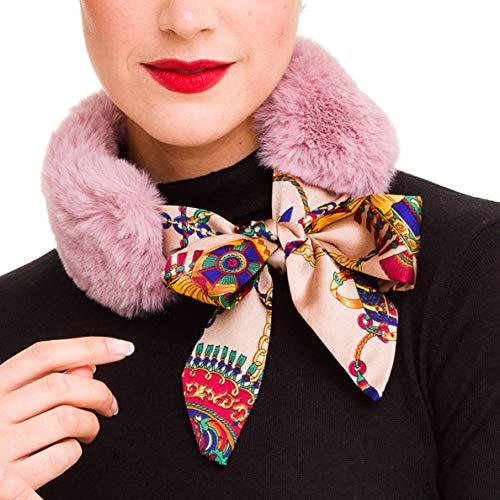 - Fur Collar Scarf for Women Faux Fur Scarves Neck Shrug for Winter Coat Dress (Pink)