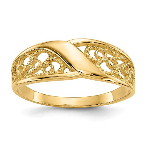 JewelrySuperMartCollection 14k Yellow Gold Polished Filigree Ring (7mm Width) - Size 10