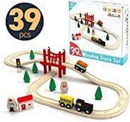 Wooden Train Set Starter 39-Piece Track Pack with Bridge Fits Thomas Chuggington, Engine & Passenger Car,