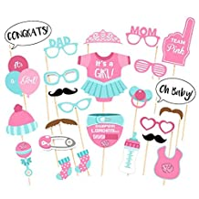 Rokou 25pcs Photo Booth Props Baby Shower Girl Boy Gender Reveal Posing Props for Birthday Party Favor Decorations (Pink)
