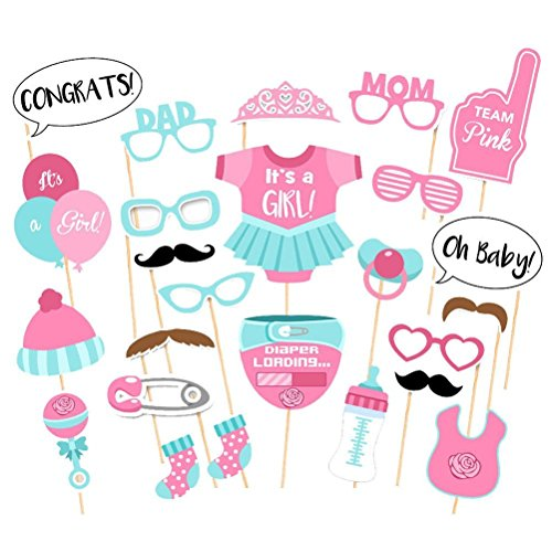 SunshineM 25pcs Photo Booth Props DIY Kit Baby Shower Girl Boy Gender Reveal Posing Props for Birthday Party Favor Decorations (Pink) ()